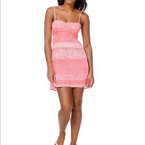 Roxy Buried Shell Watermelon Pink Print Dress NWT
